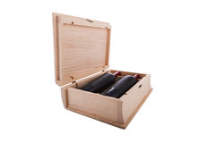 Book shaped wine box. Wine bottles in wooden box isolated on white background Stock Images