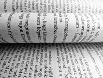 Book sheets close up pages words letters text background Royalty Free Stock Photography