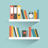 Book shelf. Flat design. Royalty Free Stock Images