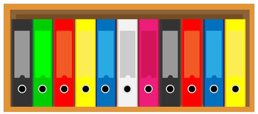 Book shelf with folders Stock Image