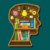 Book shelf in form of head. Flat design, vector illustration stock photography