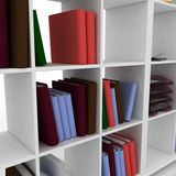 Book shelf with instruments. 3d book shelf with instruments for office Royalty Free Stock Photo