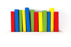 Book shelf with Multicolour books. On a white background Royalty Free Stock Images