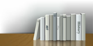 Book shelf. Realistic 3D Vector illustration. White, grey design. Royalty Free Stock Photo