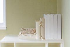 Book on shelf. In white royalty free stock photos