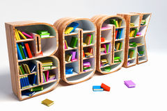 Book Shelve. 3d image of colorful book in shelve in shape of book word Stock Images