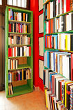 Book shelves. With lot books of art stock photography