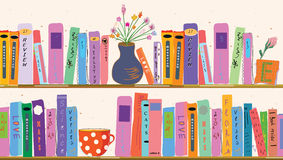 Book shelves at home. With vases Stock Photos