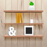 Book shelves in room interior with decor Royalty Free Stock Photo