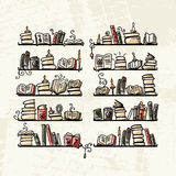 Book shelves, sketch for your design Royalty Free Stock Photography