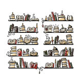 Book shelves, sketch for your design Royalty Free Stock Image