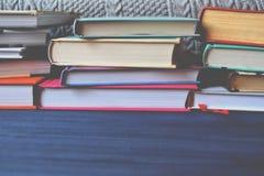 Book shelves. University life. Knowledge background. Study. Stock Photos