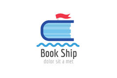 Book ship template logo icon. Back to school Stock Image