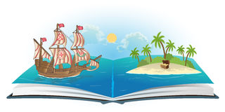 Book about ship and treasure island. Vector stock illustration