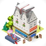 Book Shop City Building 3D Isometric Stock Photos