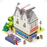 Book Shop City Building 3D Isometric Stock Photos