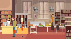 Book Shop Interior Bookstore Customers Sales Woman Cash Desk. Flat Vector Illustration Stock Photography
