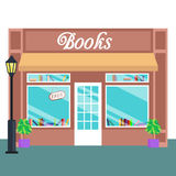 Book shop and store, building front flat style. Vector illustration Royalty Free Stock Photos