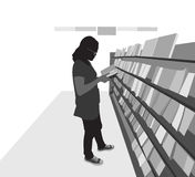 Book shops scene. Vector silhouette people on a white background Royalty Free Stock Photos