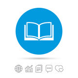 Book sign icon. Open book symbol. Copy files, chat speech bubble and chart web icons. Vector Royalty Free Stock Photo