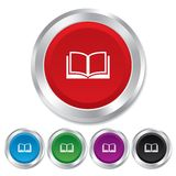 Book sign icon. Open book symbol. Round metallic buttons Royalty Free Stock Photos