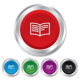 Book sign icon. Open book symbol. Round metallic buttons Stock Photo