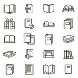 Book Signs Black Thin Line Icon Set. Vector. Book Signs Black Thin Line Icon Set Include of Textbook, Encyclopedia, pile or Stack. Vector illustration of Books Stock Photos