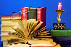 The book is a source of important knowledge, literary or scientific work, type of printed matter, consists of separate sheets,. Which are printed or handwritten royalty free stock images