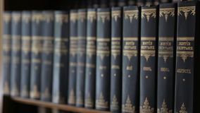 Book spines of books stock video footage