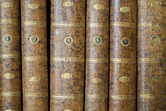 Book spines. Six spines of old books Stock Photos