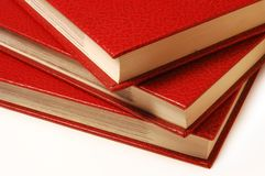 Book stack. Stack of three red books Stock Image