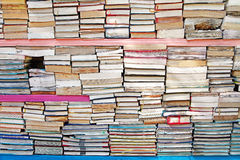 Book Stack. A stack of old wet and damaged used books Stock Images