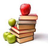 Book stack with apple Stock Image