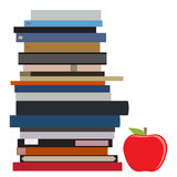 Book stack and apple Royalty Free Stock Photo