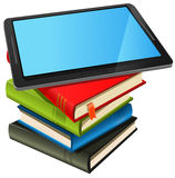 Book Stack And Blue Screen Tablet PC vector illustration