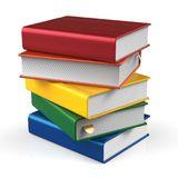 Book stack of books blank covers colorful school textbook. Book stack of books blank covers colorful textbook bookmark. School studying information content learn Royalty Free Stock Photos