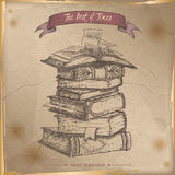 Book stack hand drawn sketch placed on old paper background. Royalty Free Stock Images