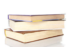 Book stack isolated on white. Stack of books over white background royalty free stock photo