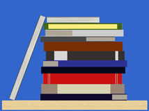 Book stack on a shelf (Vector) Royalty Free Stock Photo