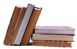 Book stack and standing up Stock Photo