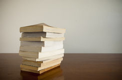 Book Stack on Table Stock Photo
