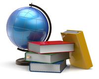 Book stack textbooks globe blank colorful global knowledge Stock Photos