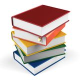 Book stack of textbooks hard covers colorful  books blank. Book stack of textbooks blank hard covers colorful  books bookmark. School studying information Royalty Free Stock Photo