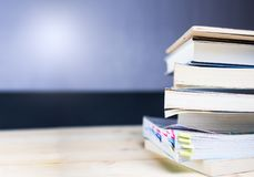 Book stack on wood table. Vintage filtered: book stack on wood table Stock Photos