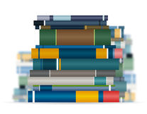 Book Stacks. Book stack with more stacks blurred in the background Royalty Free Stock Photography