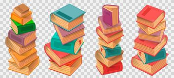 Book stacks on transparent background vector. Illustration royalty free illustration