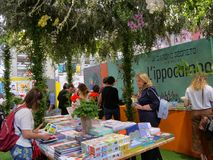 Book stand with bucolic layout in international book fair. Turin Italy May 12 2019 royalty free stock photography