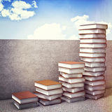 Book steps. 3d illustration of books piles and concrete wall Stock Photography