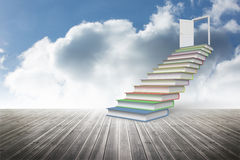 Book steps leading to door Royalty Free Stock Photos