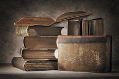 Book Still Life. Still life made of old worn books Stock Photography
